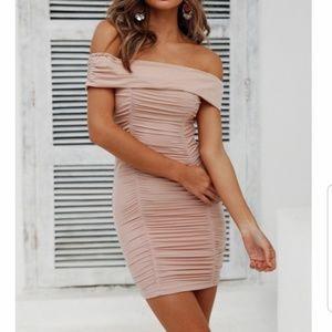 Light Beige Ruched Dress M